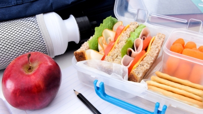 School bag, healthy lunch box